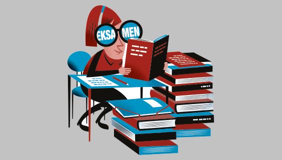 Grafik, der viser en pige, der sidder og læser med en stabel af bøger ved siden af sig
