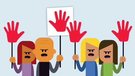 Demonstranter med skilte af hænder