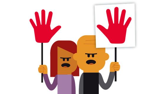 Demonstranter med skilte